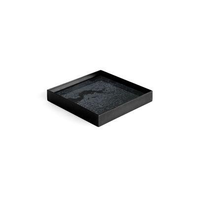 Image of Piano/vassoio Charcoal Mirror - / Svuota-tasche - 16 x 16 cm - Metallo & vetro di Ethnicraft - Nero - Vetro