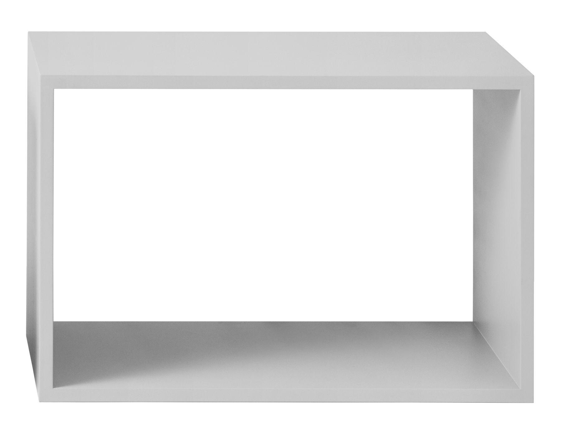 Möbel - Regale und Bücherregale - Stacked Regal / Größe L - rechteckig - 65 x 43 cm / ohne Rückwand - Muuto - Hellgrau - mitteldichte bemalte Holzfaserplatte