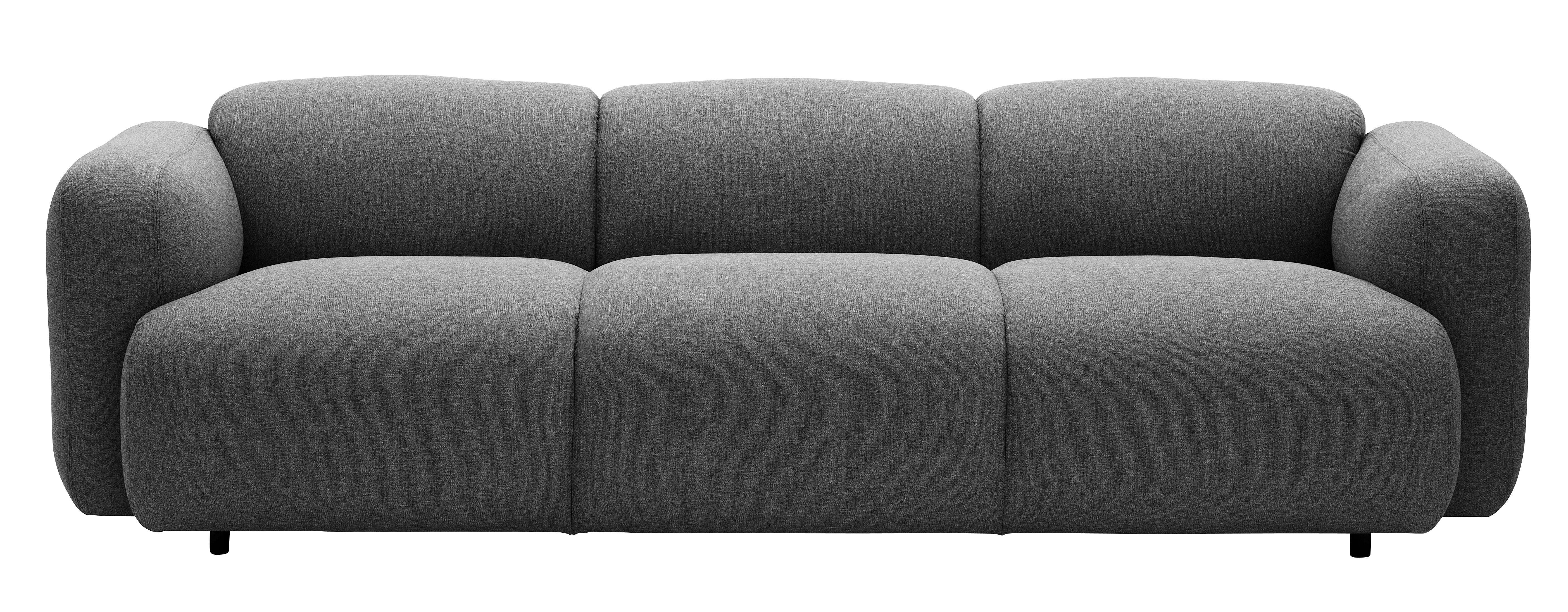 Möbel - Sofas - Swell Sofa / L 235 cm - 3-Sitzer - Normann Copenhagen - Grau - Gewebe, Stahl