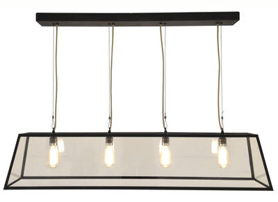 Illuminazione - Lampadari - Sospensione Diner - / L 125 cm - Metallo & vetro di Original BTC - L 125 cm / nero & trasparente - Laiton vielli, Vetro