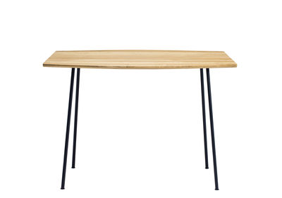 Outdoor - Garden Tables - Agave Square table - / 90 x 90 cm by Ethimo - Teak & black - Lacquered metal, Natural teak