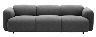 Furniture - Sofas - Swell Straight sofa by Normann Copenhagen - Grey - Fabric, Steel