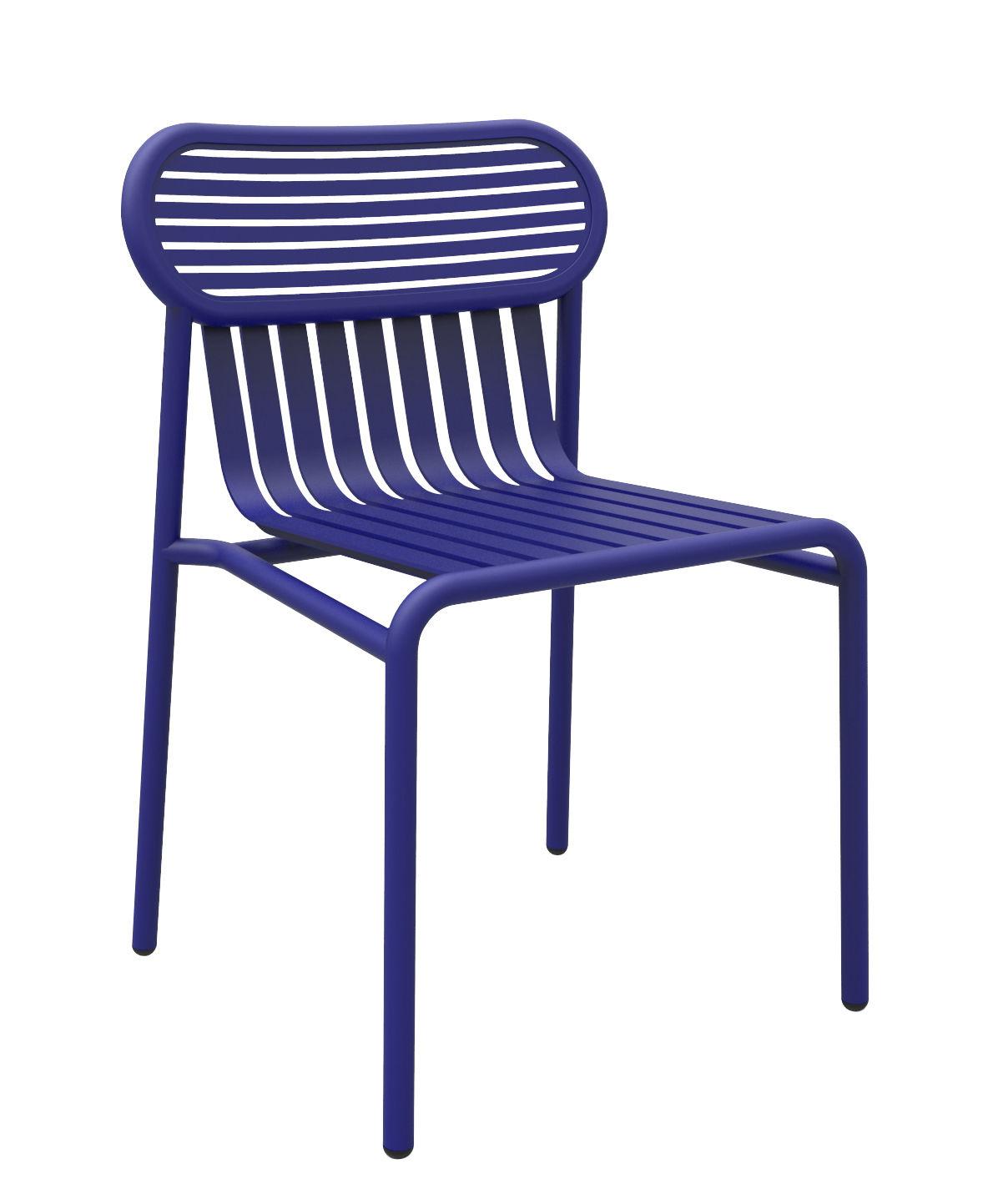 Möbel - Stühle  - Week-end Stuhl / Aluminium - Petite Friture - Blau - Aluminium, thermolackiert und expoxidbeschichtet