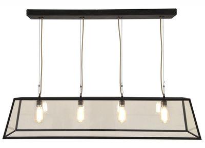 Luminaire - Suspensions - Suspension Diner / L 125 cm - Métal & verre - Original BTC - L 125 cm / Noir & transparent - Laiton vielli, Verre