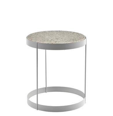 Table basse Drum / Plateau quartz - Ø 40 cm - Bolia blanc en métal