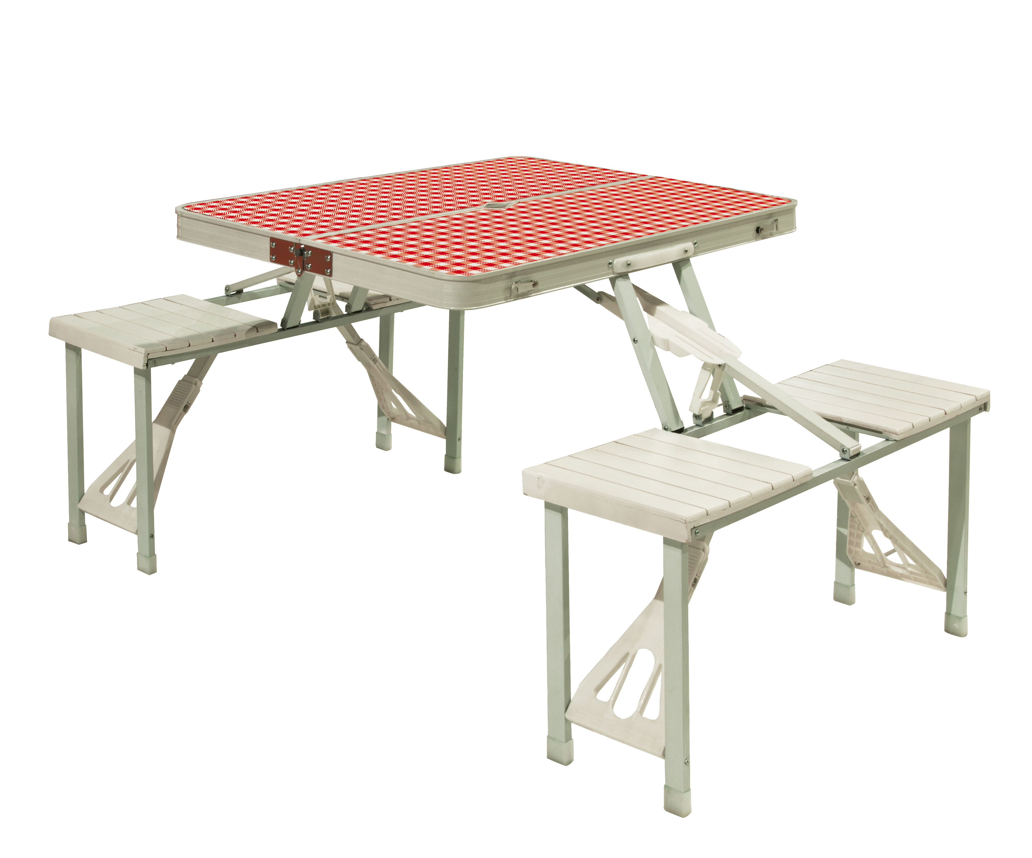 Outdoor - Tables de jardin - Table pliante Festival / Table-valise de pique-nique avec bancs - Seletti - Blanc & rouge - Matériau plastique, Métal
