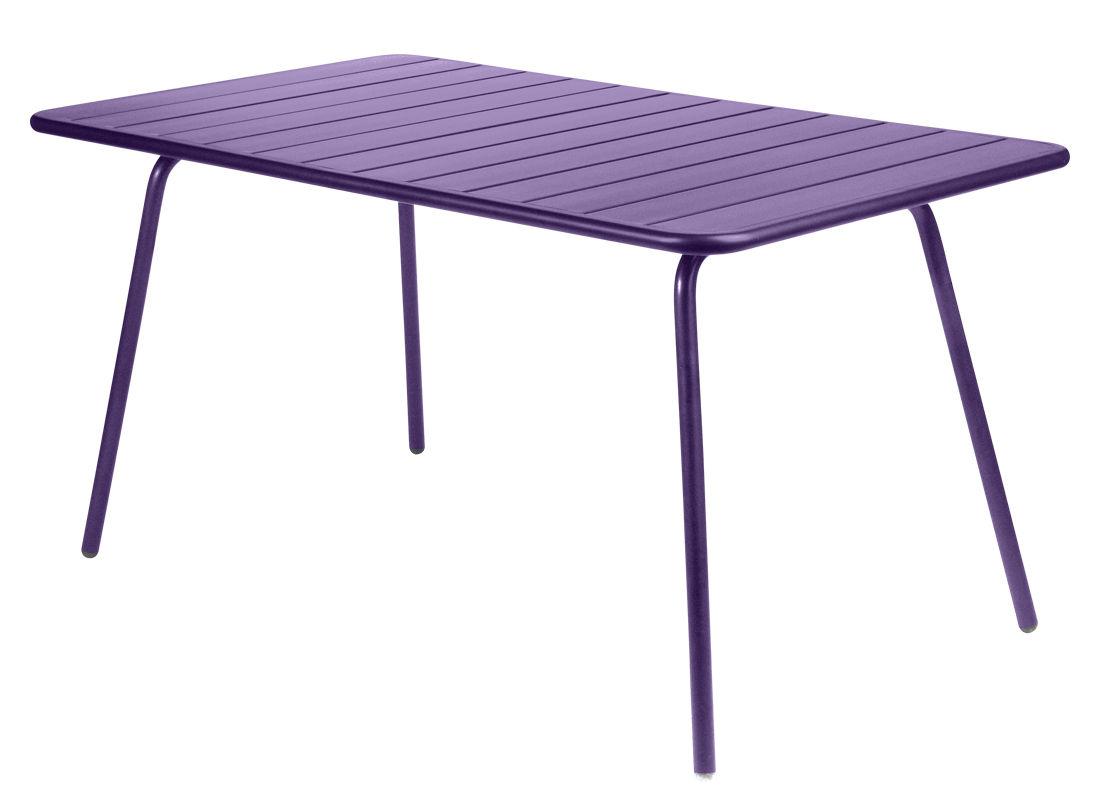 Outdoor - Tables de jardin - Table rectangulaire Luxembourg / 6 personnes - 143 x 80 cm - Aluminium - Fermob - Aubergine - Aluminium laqué
