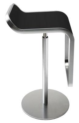 Tabouret haut réglable Lem / Assise bois pivotante - Lapalma noir en métal/bois