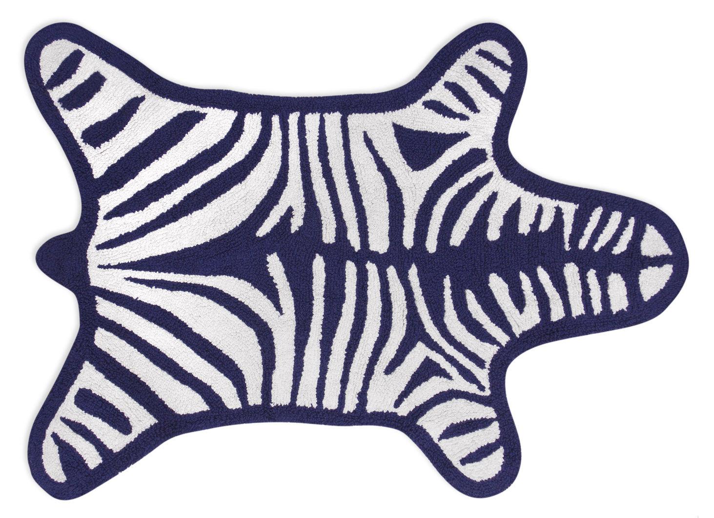 Accessoires - Accessoires salle de bains - Tapis de bain Zebra / Reversible - 112 x 79 cm - Jonathan Adler - Blanc / Bleu marine - Coton