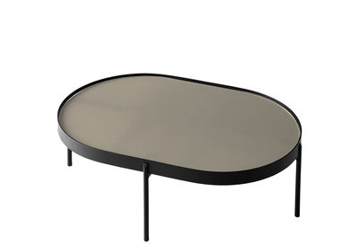 Arredamento - Tavolini  - Tavolino No-No Small - / 75 x 50 x H 25 cm di Menu - Grigio / struttura nera - Acciaio verniciato a polveri, Vetro lucidato