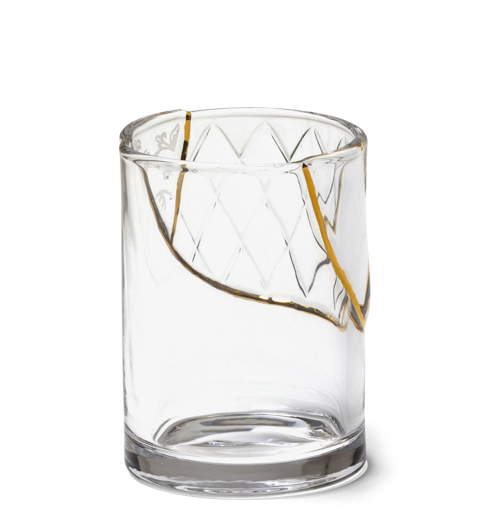 Arts de la table - Verres  - Verre Kintsugi n°2 / Verre & or fin - Seletti - n°2 / Transparent & or - Or fin, Verre