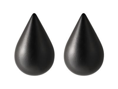 Arredamento - Appendiabiti  - Appendiabiti Dropit Small - lotto da 2 - H 7,7 cm di Normann Copenhagen - Nero - Small / H 7,7 cm - Legno tinto