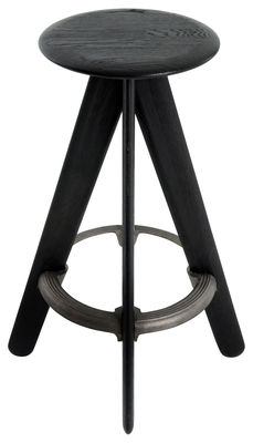 Furniture - Bar Stools - Slab Bar stool - H 76 cm - Wood by Tom Dixon - Black lacquer - Cast iron, Painted oak
