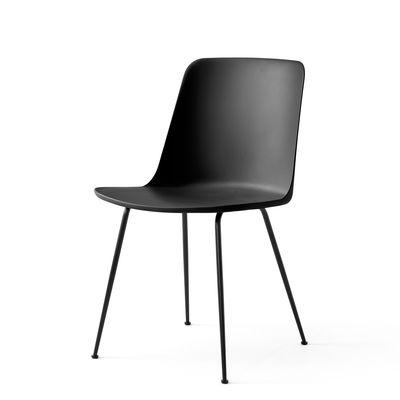 Mobilier - Chaises, fauteuils de salle à manger - Chaise Rely HW6 / Plastique recyclé - &tradition - Noir / Pieds noirs - Acier, Fibre de verre, Polypropylène recyclé