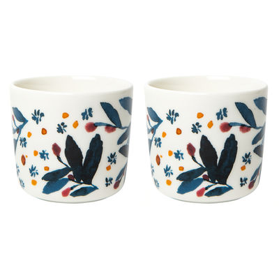 Tableware - Coffee Mugs & Tea Cups - Hyhmä Coffee cup - / Without handle - Set of 2 by Marimekko - Hyhmä / White, blue, red - Sandstone