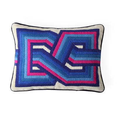 Decoration - Cushions & Poufs - Bargello Twist Cushion - / 40 x 30 cm - Hand-embroidered / Wool & velvet by Jonathan Adler - 40 x 30 cm / Blue & pink -  Duvet,  Plumes, Velvet, Wool