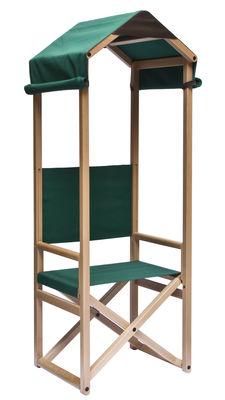 Chaise pliant Rolo / Cabane tissu - Internoitaliano vert/bois naturel en tissu/bois