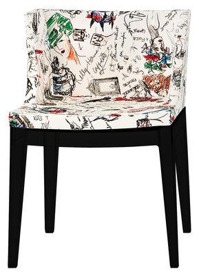 Fauteuil rembourré Mademoiselle Moschino / Tissu & pieds noirs - Kartell blanc,multicolore,noir en tissu