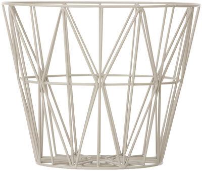 Dekoration - Tischdekoration - Wire Large Korb / Ø 60 x H 45 cm - Ferm Living - Grau - lackiertes Metall