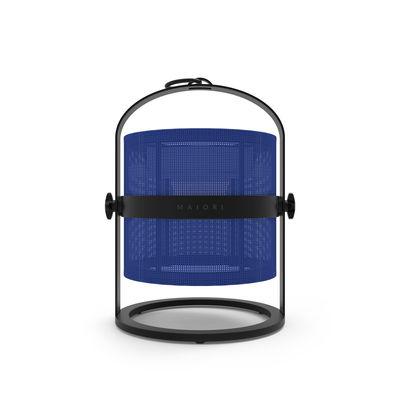 Luminaire - Lampes de table - Lampe solaire La Lampe Petite LED / Hybride & connectée - Structure charbon - Maiori - Bleu Marine / Structure charbon - Aluminium, Tissu technique