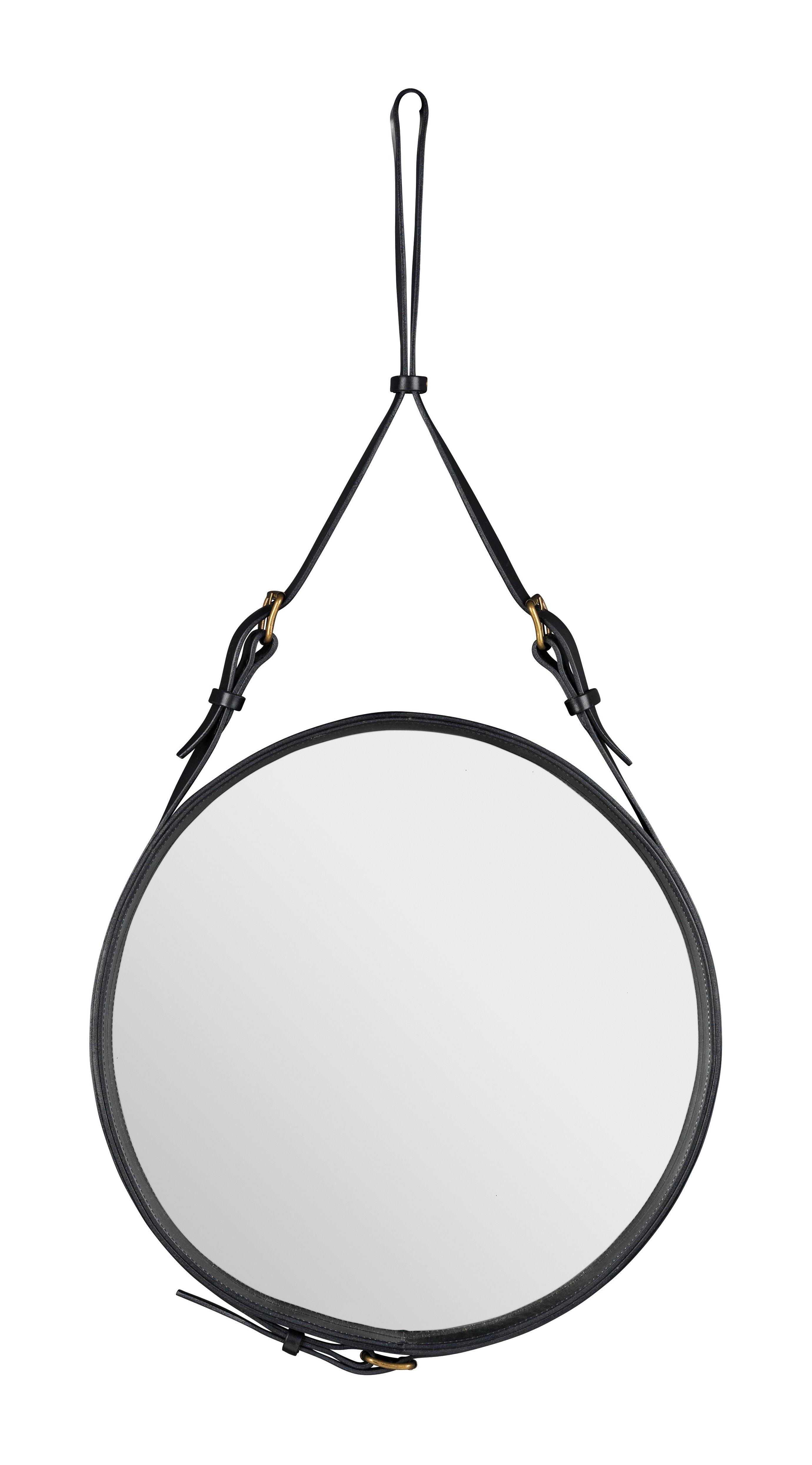 Mobilier - Miroirs - Miroir mural Adnet / Ø 45 cm - Réédition 50' - Gubi - Noir - Cuir