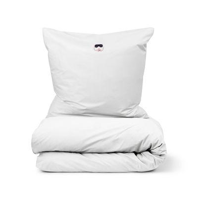 Déco - Textile - Parure de lit 2 personnes Snooze / 200 x 220 cm - Normann Copenhagen - Blanc / Deep Sleep - Percale de coton OEKO-TEX
