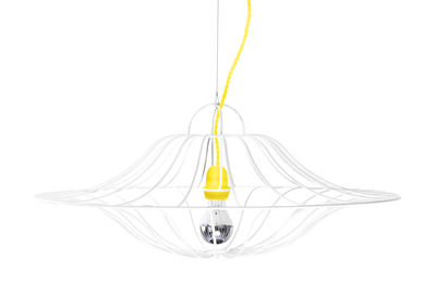Lighting - Pendant Lighting - Ombrelle Pendant - Ø 60 cm by La Corbeille - White / Yellow wire - Fabric, Lacquered steel