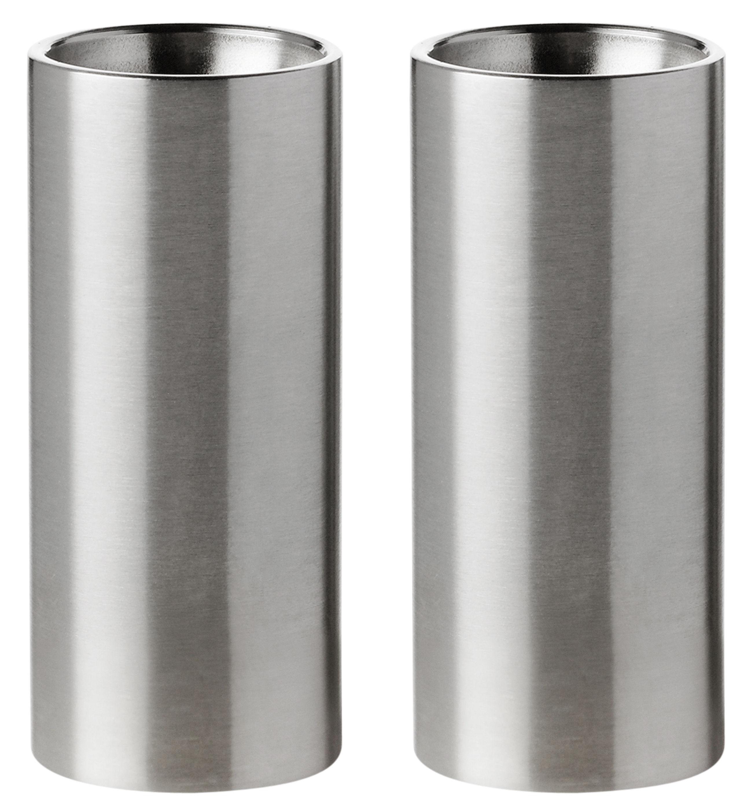 Egg Cups - Salt & Pepper Mills - Cylinda-Line Salt and pepper set by Stelton - Acier - Stainless steel