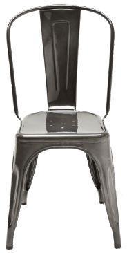 Arredamento - Sedie  - Sedia impilabile A - / Acciaio - Per l'interno di Tolix - Acciaio scuro colore Janvier 1 - Acciaio riciclato grezzo verniciato scuro