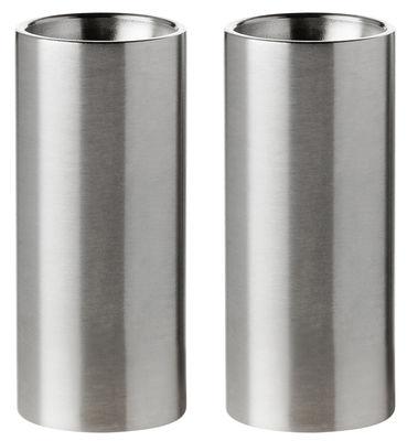 Portauova - Saliere e Pepiere - Set sale e pepe Cylinda-Line di Stelton - Acciaio - Acciaio inossidabile