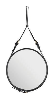 Arredamento - Specchi - Specchio murale Adnet - Ø 45 cm di Gubi - Nero - Pelle