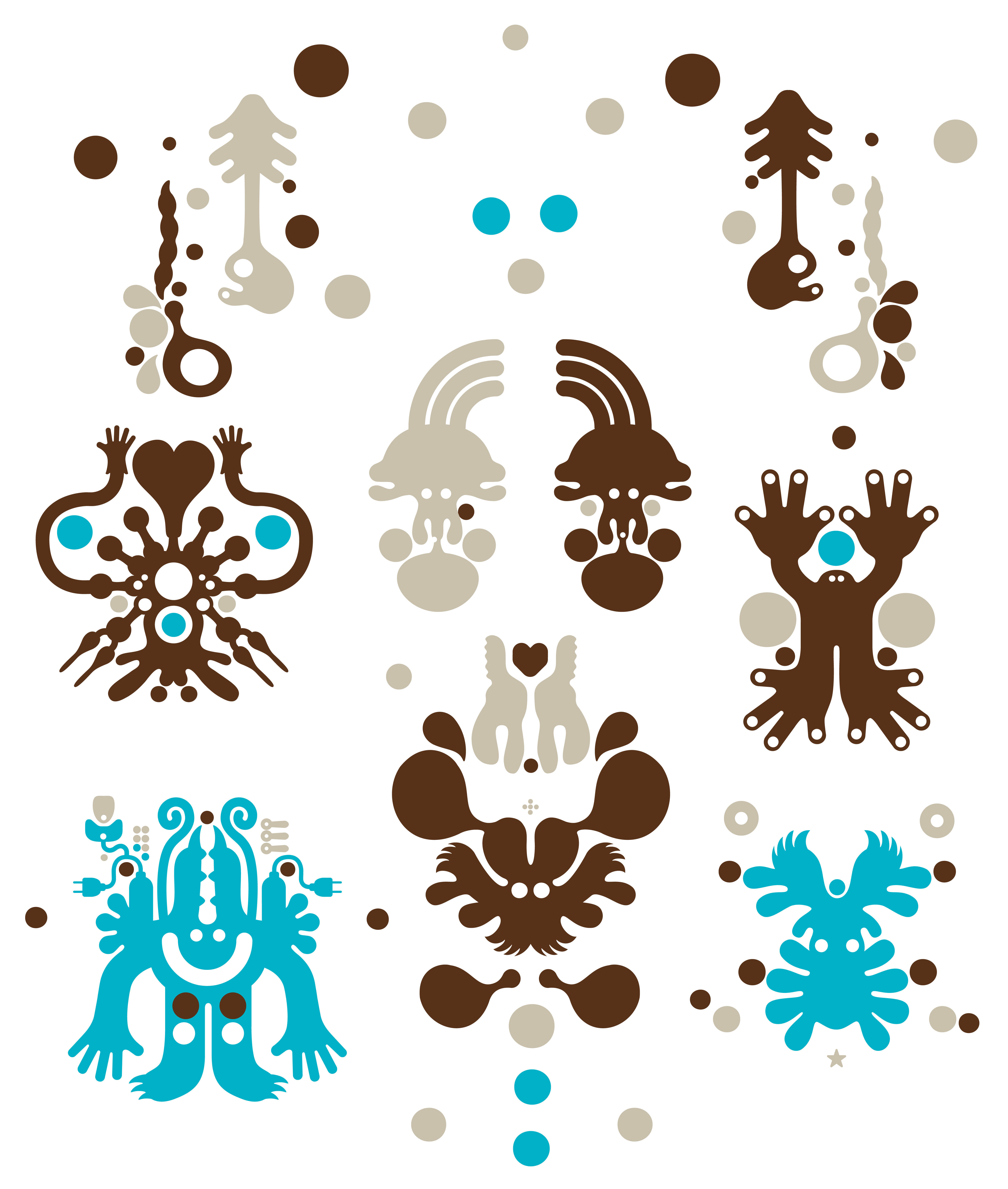 Déco - Stickers, papiers peints & posters - Sticker Monster Forest Brown - Domestic - Marron - Vinyle