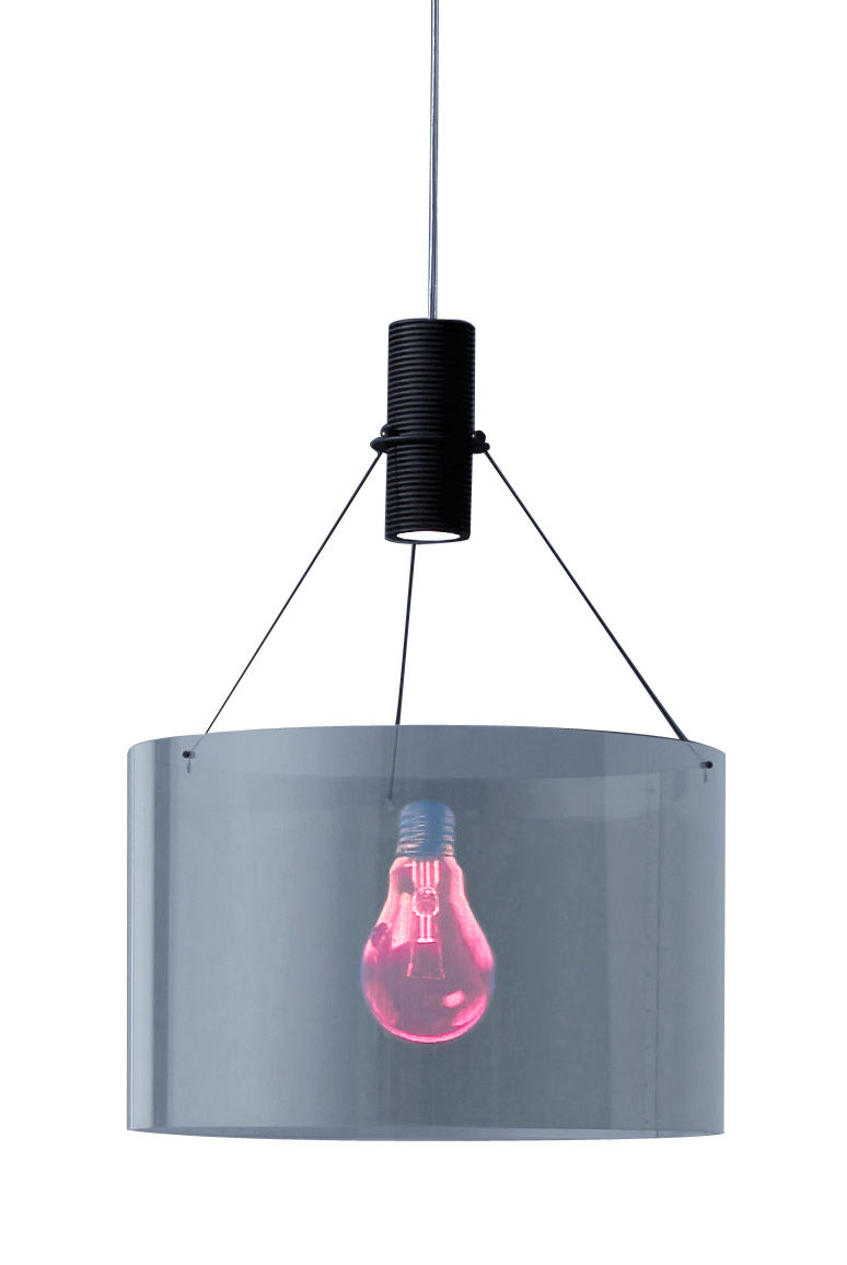 Luminaire - Suspensions - Suspension Eddie's Son - Ingo Maurer - Rouge & noir / Câble transparent - Verre