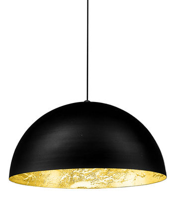Luminaire - Suspensions - Suspension Stchu-moon 02 / LED - Ø 60 cm - Cuillères - Catellani & Smith - Noir & or / Cuillères métal - Aluminium, Feuille dorée, Mousse polyuréthane