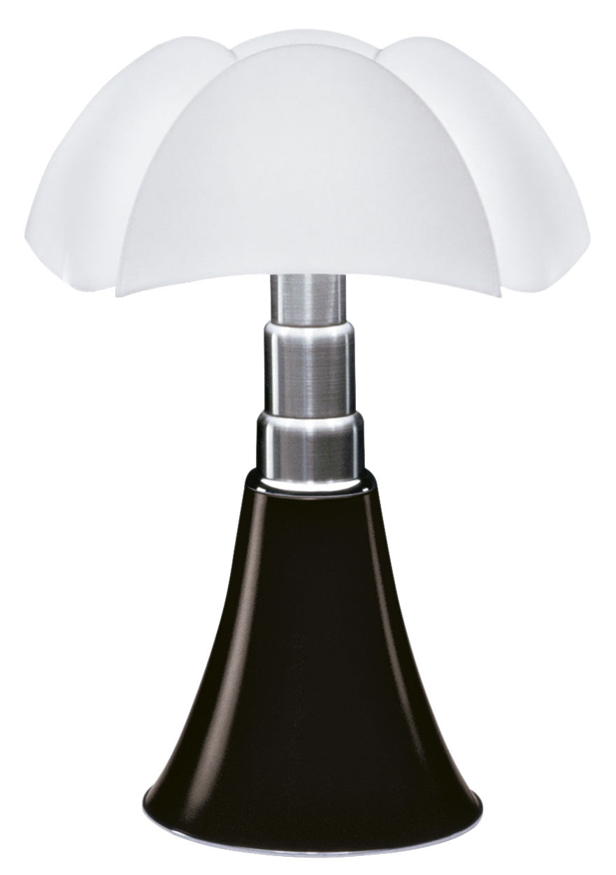Lighting - Table Lamps - Pipistrello LED Table lamp - / H 66 to 86 cm by Martinelli Luce - Dark brown / White lampshade - Galvanized steel, Lacquered aluminium, Opaline methacrylate