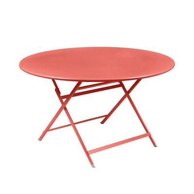 Jardin - Tables de jardin - Table pliante Caractère / Ø 128 cm / 7 personnes - Fermob - Capucine - Acier peint