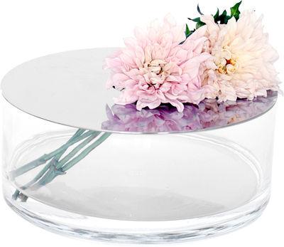 Dekoration - Vasen - Narciso Piatto Vase flach - Petite Friture - B 30 cm x H 12 cm  / transparent - Spiegelfläche - Glas, rostfreier Stahl