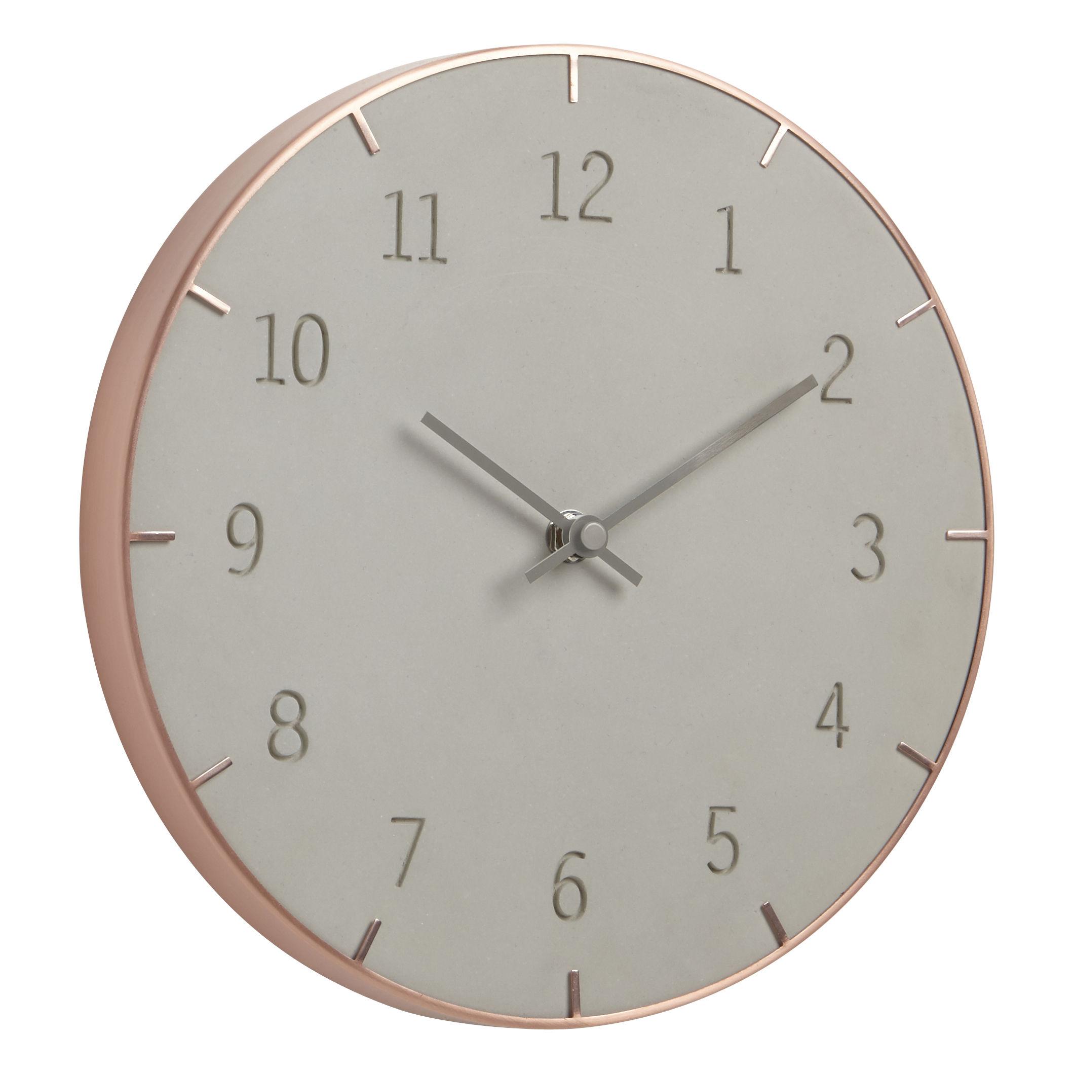 Decoration - Wall Clocks - Piatto Wall clock - Ø 25,4 cm - Metal & concrete by Umbra - Concrete / Copper - Concrete, Métal cuivré