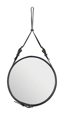 Furniture - Mirrors - Adnet Wall mirror - Ø 45 cm by Gubi - Black - Leather