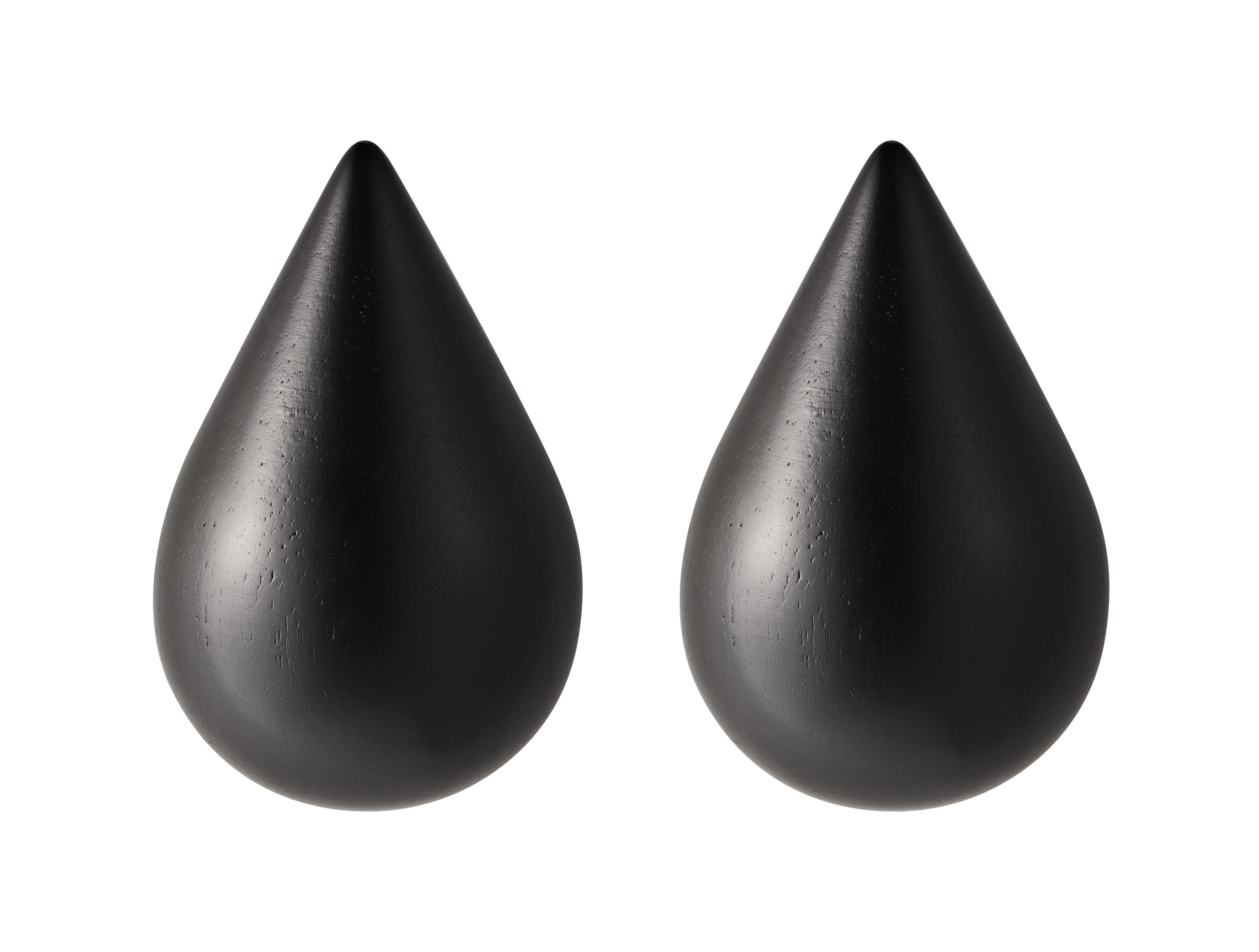 Möbel - Garderoben und Kleiderhaken - Dropit Small Wandhaken 2er-Set - H 7,7 cm - Normann Copenhagen - Schwarz - S / H 7,7 cm - bemaltes Holz