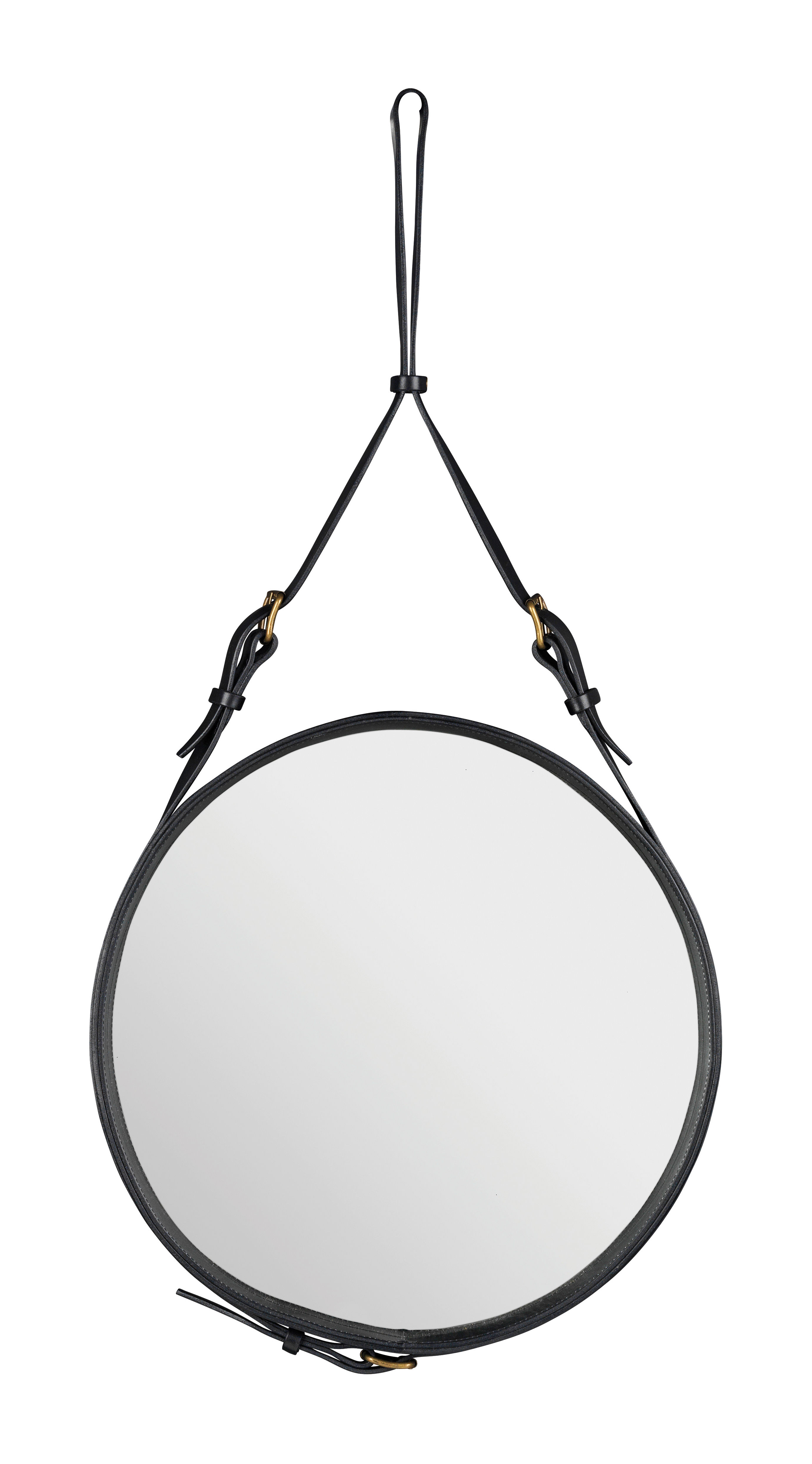 Möbel - Spiegel - Adnet Wandspiegel Ø 45 cm - Gubi - Schwarz - Leder