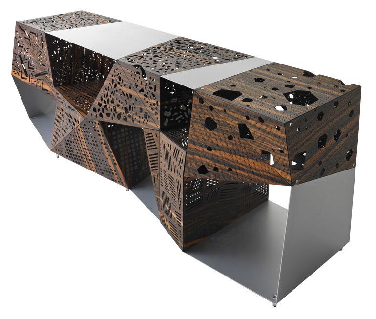 Möbel - Kommode und Anrichte - Riddled Anrichte / L 200 cm - durchlöcherte Holzelemente & Metall - Horm - Ebenholz / Aluminium - Aluminium, Perforiertes Ebenholz