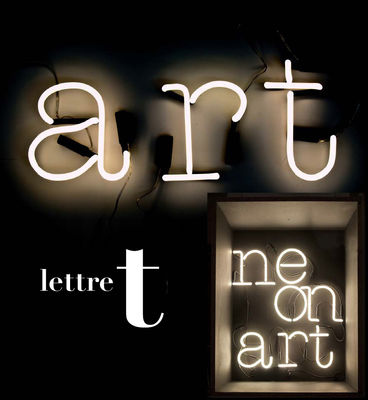 Applique avec prise Neon Art / Lettre T - Seletti blanc en verre
