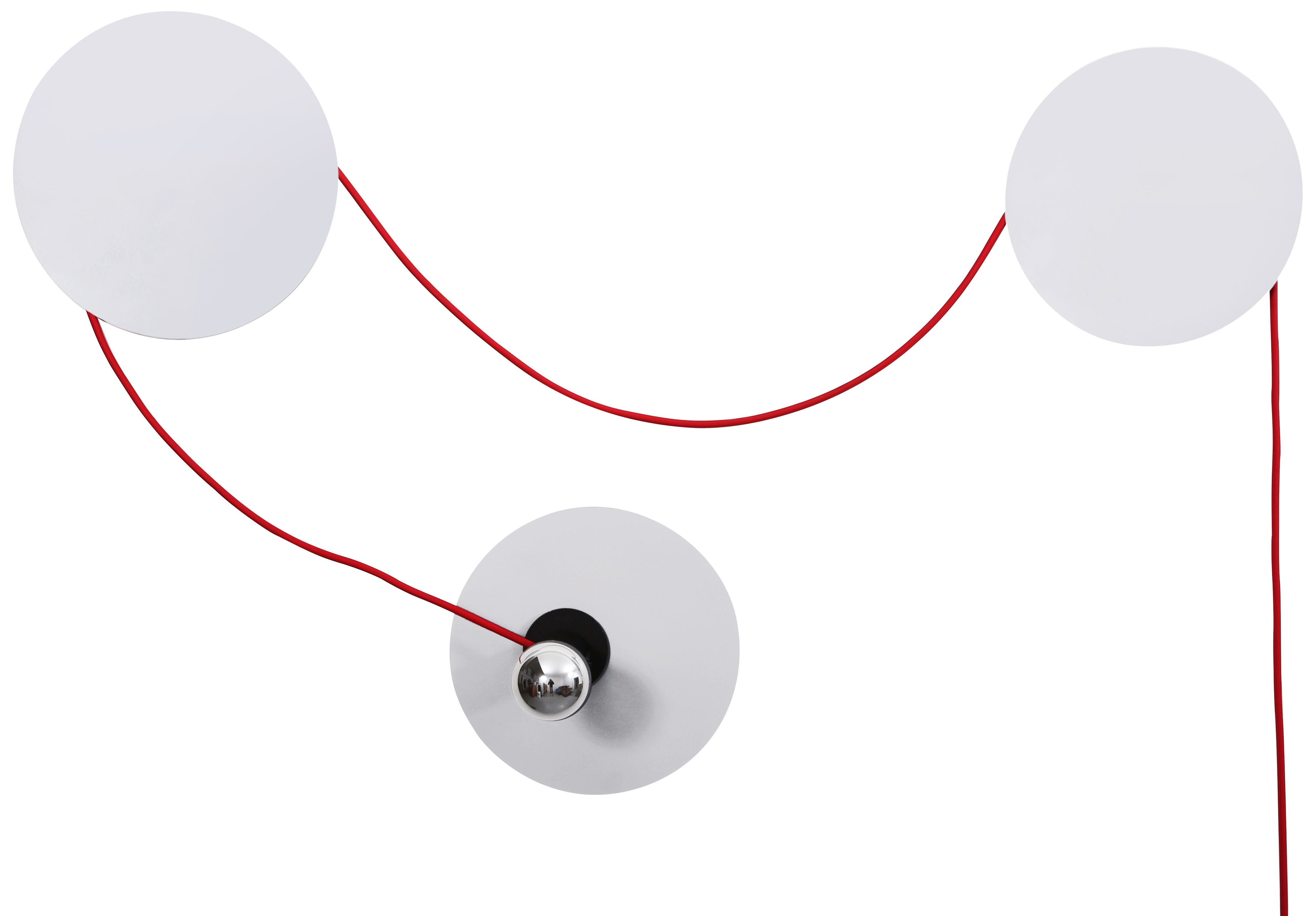 Luminaire - Appliques - Applique avec prise Spotlight / Modulable - La Corbeille - Gris clair / Câble rouge - Métal laqué