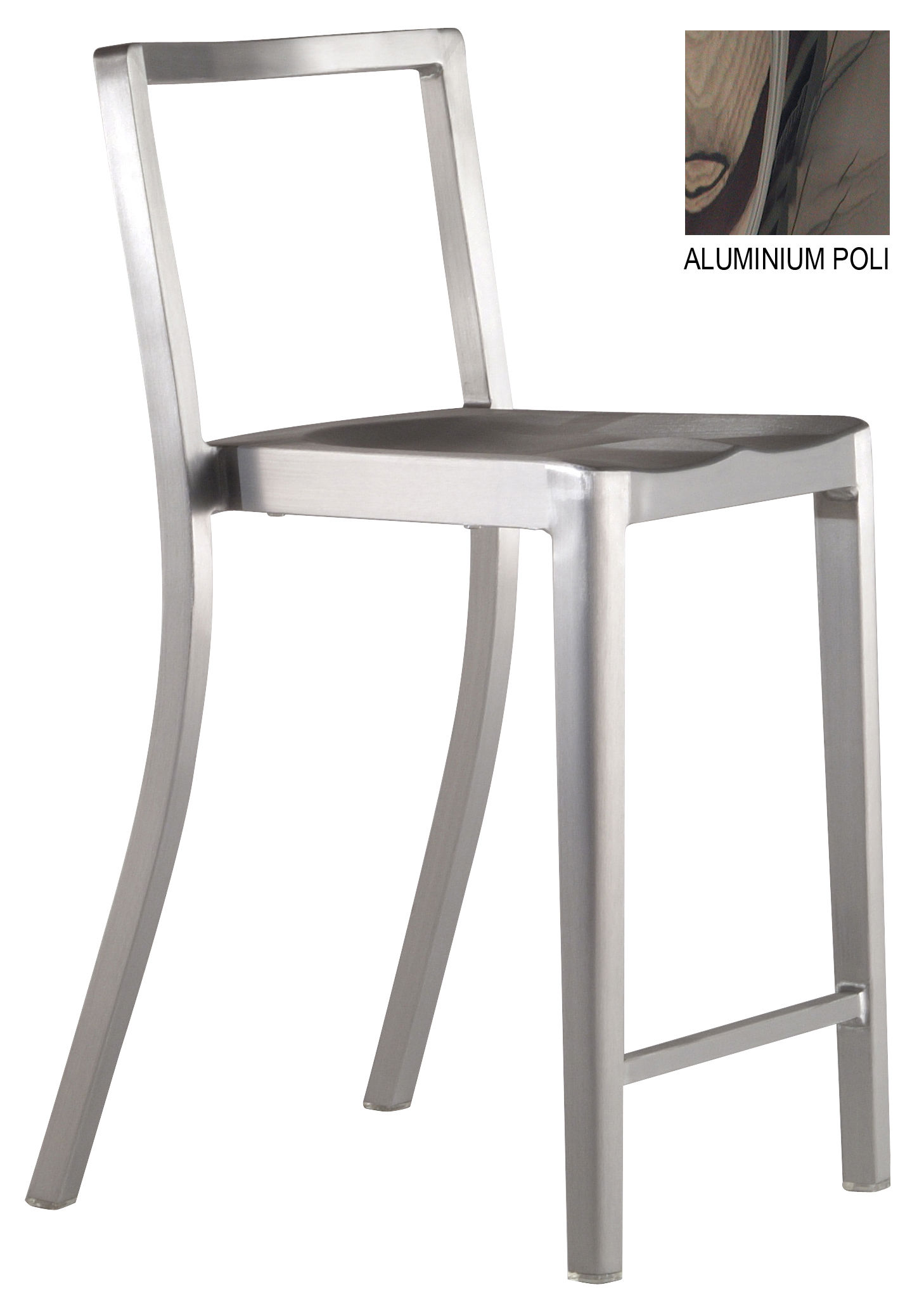 Furniture - Bar Stools - Icon Indoor Bar chair - H 61 cm - Metal by Emeco - Polished aluminium - Recycled polished aluminium