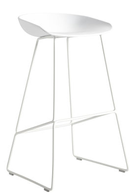Furniture - Bar Stools - About a stool AAS 38 Bar stool - H 65 cm - Steel sled base by Hay - White - Polypropylene, Steel