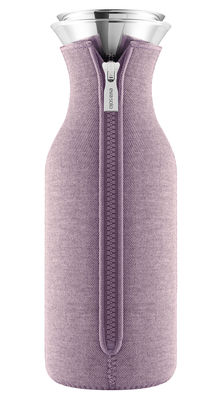 Tableware - Water Carafes & Wine Decanters - Stoppe-goutte Carafe - 1 L / Technical fabric cover by Eva Solo - Nordic rose - Glass, Stainless steel, Technical fabric