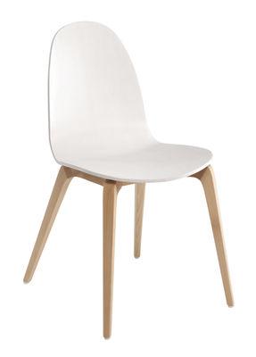 chaise bob ondarreta blanc pieds bois l 46 x h 83. Black Bedroom Furniture Sets. Home Design Ideas