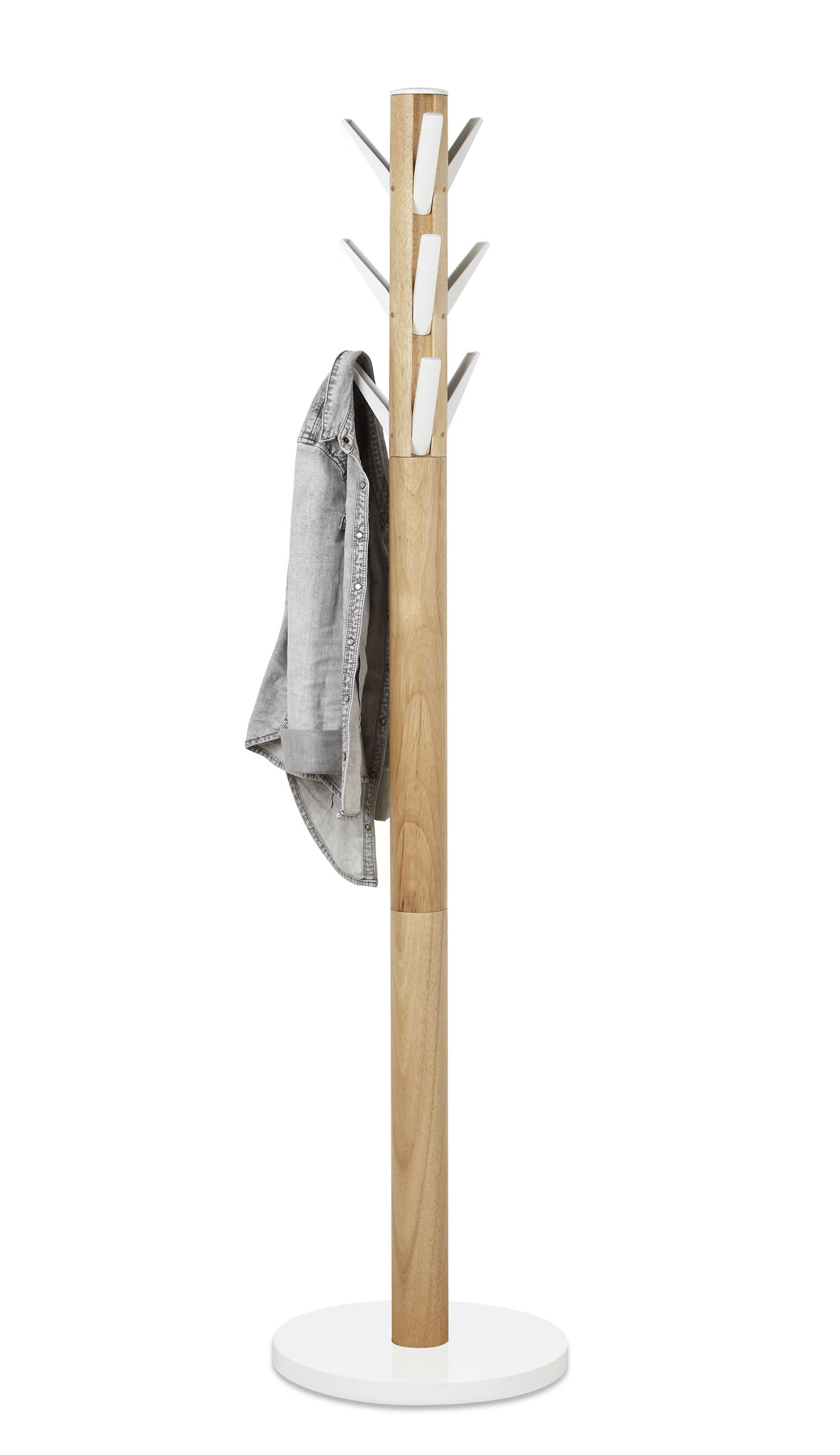 Furniture - Coat Racks & Pegs - Flapper Coat stand - / Folding hooks by Umbra - White & wood - Cast aluminium, Rubber tree wood