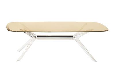Furniture - Coffee Tables - Blast Coffee table - / Glass - 130 x 80 cm by Kartell - Yellow / Transparent - Aluminium, Cristal, Thermoplastic technopolymer